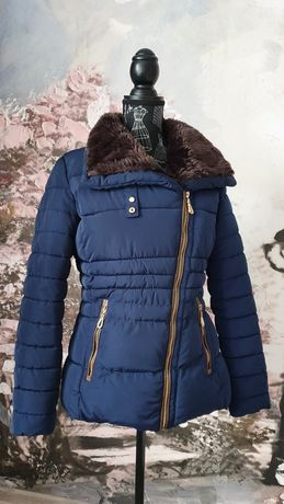 Granatowa krótka ocieplana kurtka jesień zima M/38