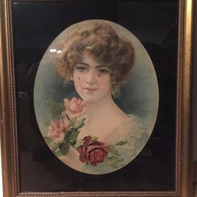Stary olejodruk. Dziewczyna z różami.