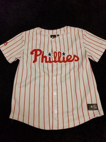 Bluzką baseballowa Phillies 7-8 lat biała czerwone paski