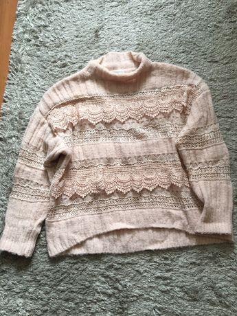 Sweter wełna pudrowy róż koronka gipiura Marsala butik r. Uni