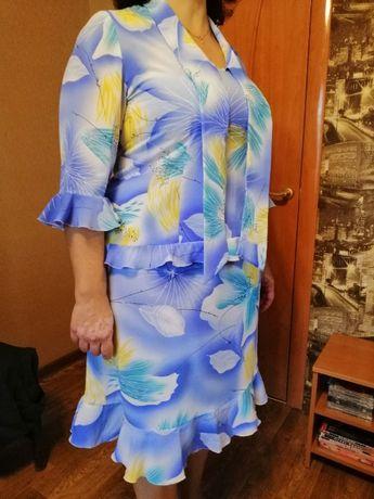 Шифоновый костюм юбка и блузка