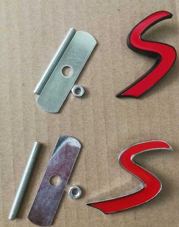 NOWY emblemat znaczek S na grill logo metal blaszki MINI Cooper czerwo