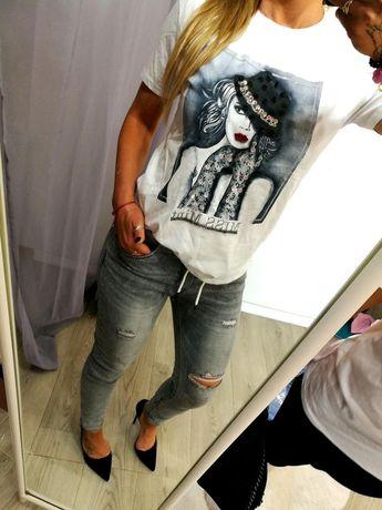 Bluzka T-shirt Mint czarna biala kapelusz kobieta Cyrkonie S M L