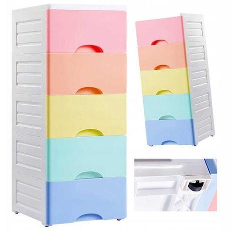 HIT. Plastikowy regał - szafka na kółkach z szufladami - wys. 80cm