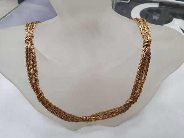 Piękna złota kolia damska/ zdobiona/ 375/ 38.2 gram/ 42cm/ pełna/ skle