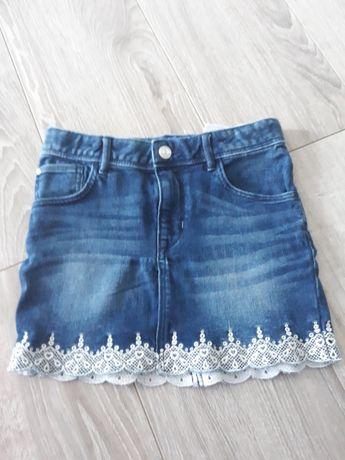 Mini spódniczka jeans h&m 134 koronka cudo