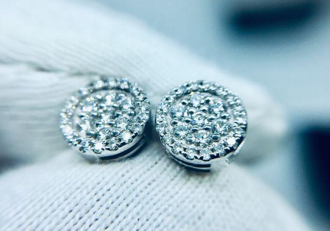 Золотые сережки пусеты серьги бриллиантам. 33 карат. Кольцо. Набор.