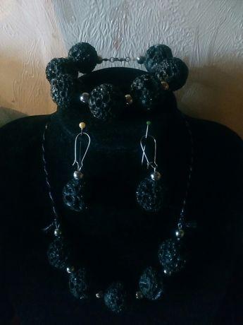 Unikatowy komplet biżuterii, lawa wulkaniczna Rękodzieło/ Handmade
