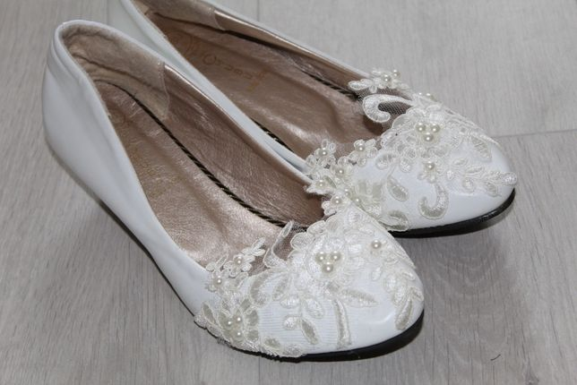 Buty ślubne koronkowe kość słoniowa 40