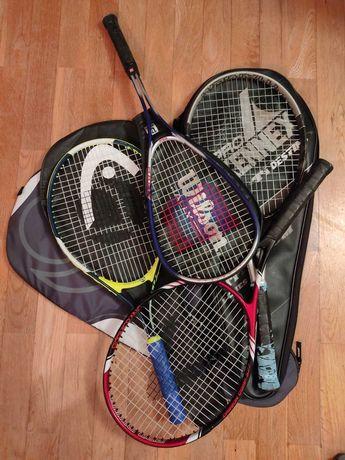 3 Raquetas de ténis e 1 raqueta de squash + sacos