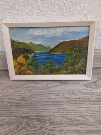 """Malowany,sygnowany obraz """"Lake Thirlmere"""" 28 Na 19cm /13.5"""