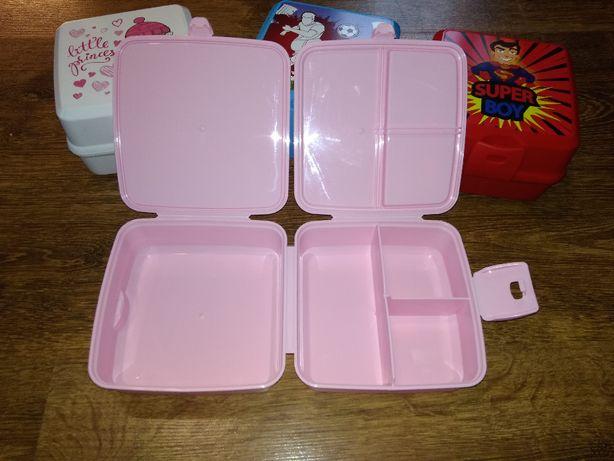 ланч-бокс бутербродница для девочки 4 отделения со столовыми приборами