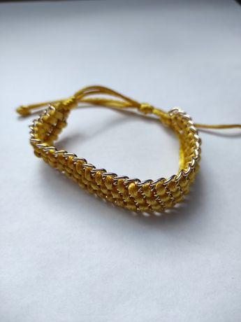 Bransoletka sznurkowa, złota