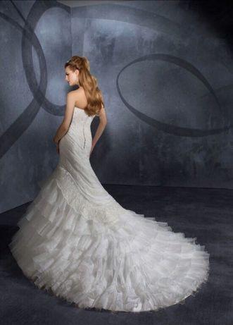 Mori Lee luksusowa suknia ślubna nowa 38 koronka syrena ryba