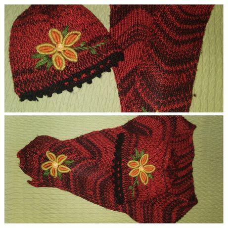 Комплект - шапка и шарф, вязка