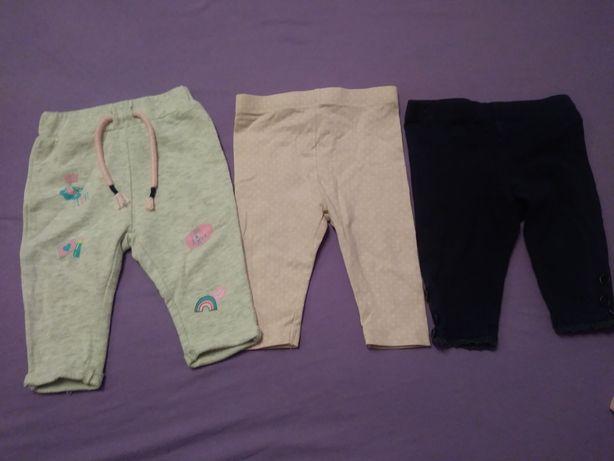 Spodnie leginsy 3 pary zestaw  62