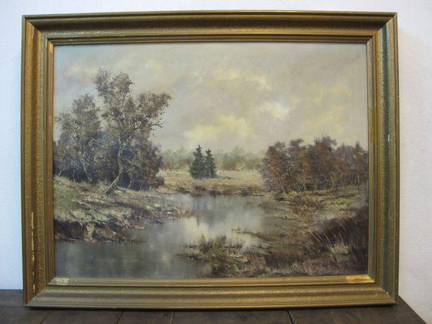 Stary obraz olejny na płótnie sygn. F. Dürrnberger, 1955, las, jezioro