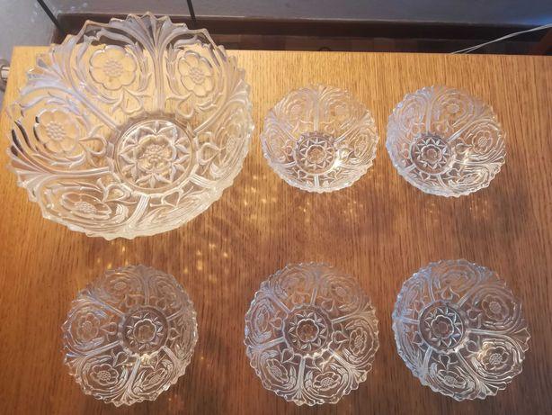 Conj taça grande + 5 peqs vidro trabalhado