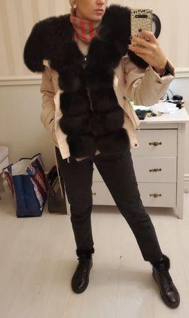 Парка с мехом песца пуффер курточка 2в1 натуральный финский песец