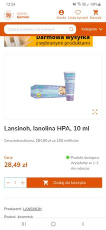 Maść lansinoh   Lanolina 10 ml