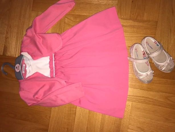 Sukienka + bolerko + buciki rozm. 104