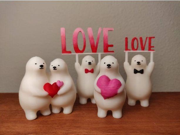 Белые медведи делятся «Любовью» фигурка нэцкэ набор мишка статуэтка