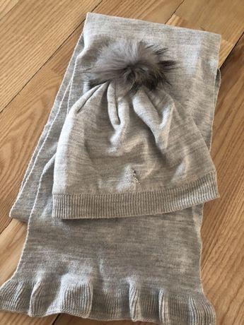 Комплект шапка шарфик зимний Wojcik на девочку 2- 4-х лет на изософте