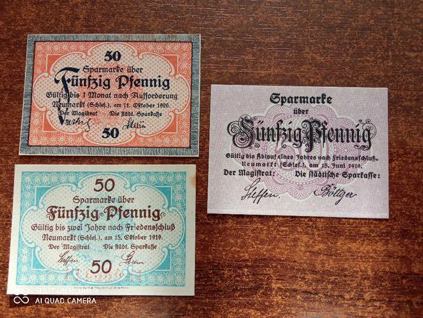 Banknoty 50 fenigów Środa Śląska - zestaw UNC