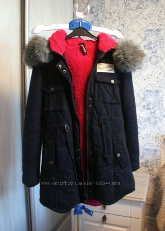 шикарная яркая меховая куртка парка 44р