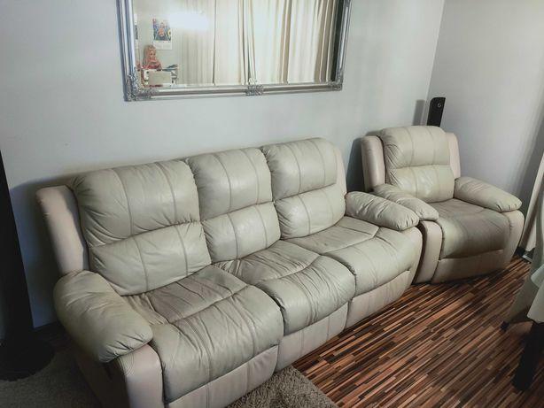 Skórzany Komplet wypoczynkowy z 4 relaksami kanapa + 2 fotele