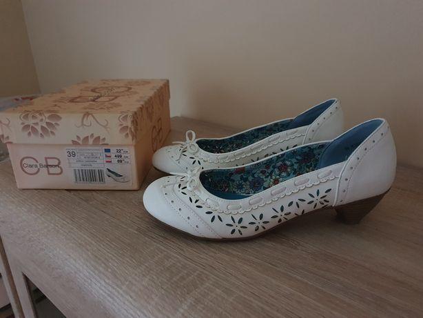 Clara Barson 39 półbuty białe obuwie buty