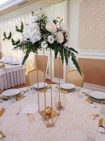 Stojaki na kwiaty złote metalowe typu loft