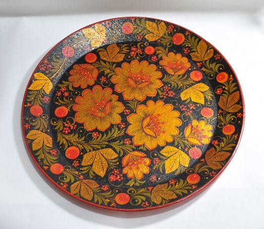 Настенная тарелка СССР, ручная роспись, прес опилки