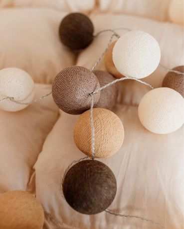 Гирлянда хлопковые шарики коричневые
