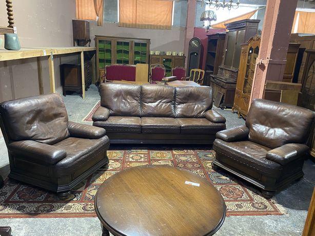 Wypoczynek skóra/fotelex2+sofa/antyki stylowy wegrow