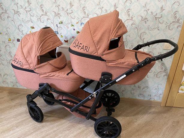 Коляска для двойни, коляска для близняшек Mikrus GEMELLO