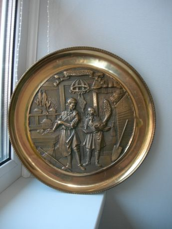 Панно, тарелка, рельеф на стену, 2,2 кг, бронза, Германия