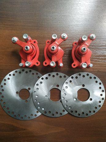Тормозная система передняя + задняя в сборе 6 деталей на квадроцикл