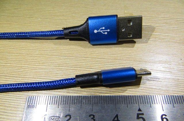 USB Кабель Синий 1.5 М Micro Usb