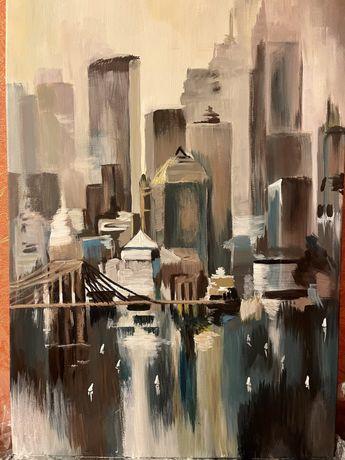 Картина Абстрактный город по мотивам Уилфреда Ланга.Акрил.