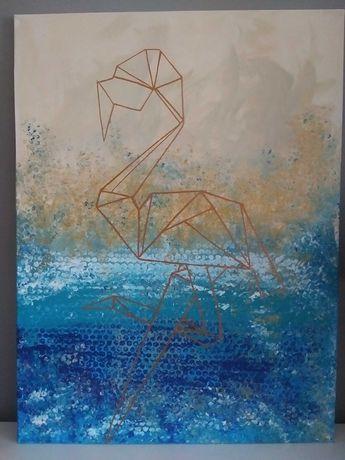Nowoczesny obraz geometryczny flaming 80x60cm