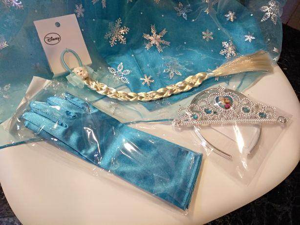 Oferta Portes | Conj. coroa+Luvas+Trança do Disfarce Frozen Elsa