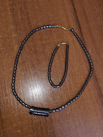 Комплект браслет и ожерелье гематит бусы
