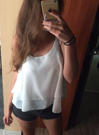 Biała zwiewna bluzka na ramiączkach, mgiełka, M/L