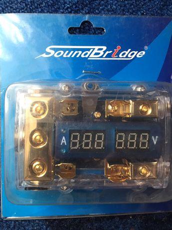 Держатель для двух предохранителей с вольтметром и амперметром
