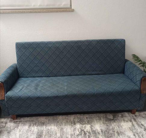 Sofá cama azul como novo