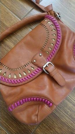 Listonoszka torebka ruda brązowa stan idealny