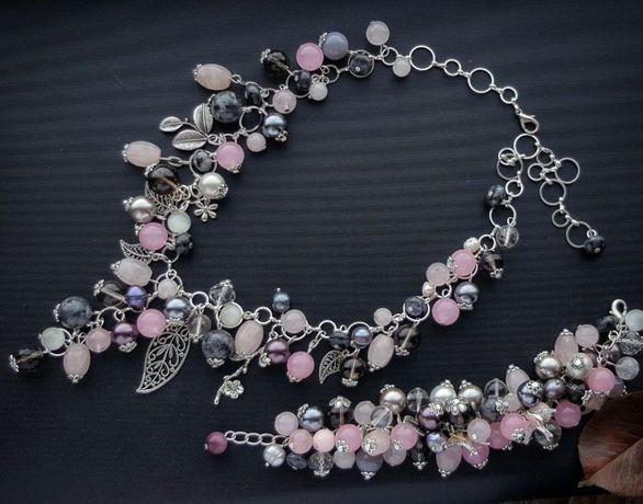 Ожерелье и браслет из натуральных камней