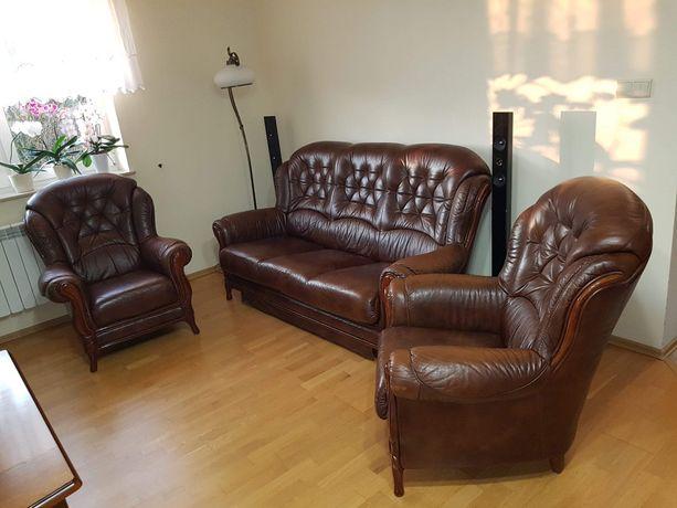 Sprzedam kanapę+2 fotele ze sk. naturalnej z funk. spania, obicie drew