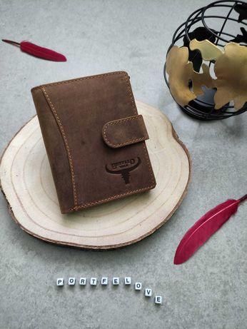 Męski skórzany portfel, mocna bawoła skóra